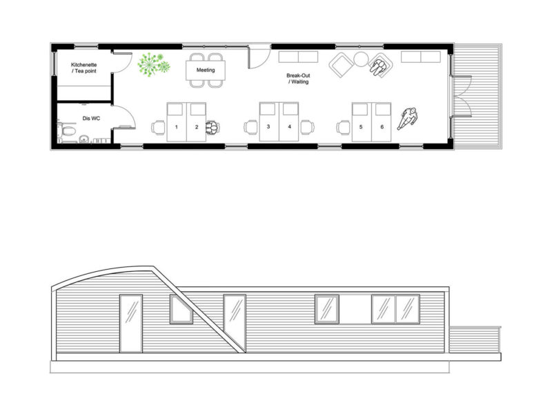 C750 Office Floor Plan and Side Elevation