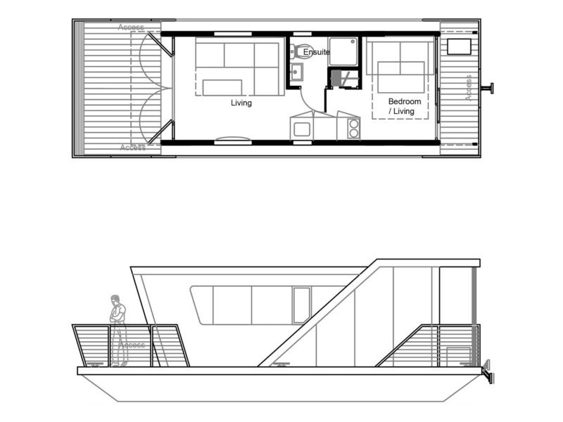 M250 Floor Plan and Side Elevation